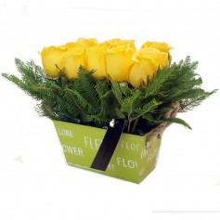 Cesta 10 Rosas Amarillas